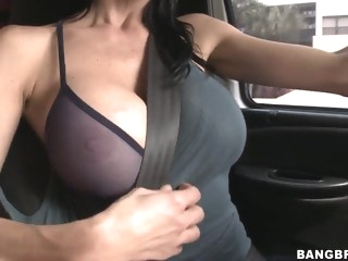 Car fun with a really busty mama and her boy blond big tits