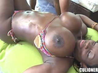 Big titted chocolate chick Karina is being pleased big ass hd