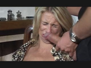 Hesitant MILF fucked in throat, pussy and ass blowjob milf